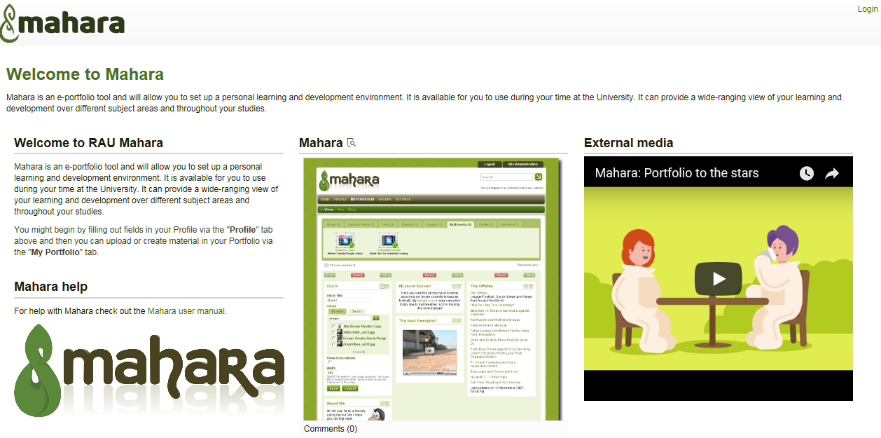 Introduction to Mahara page - on Mahara