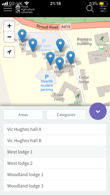 Campus map viewed on a mobile