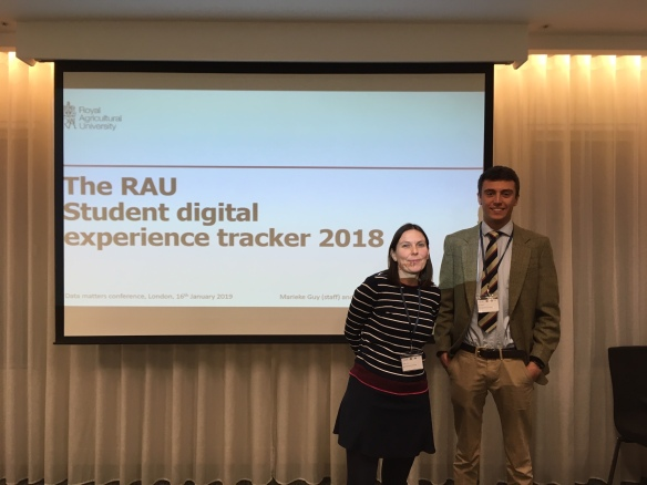 Marieke Guy and Alex Norris just before giving their presentation