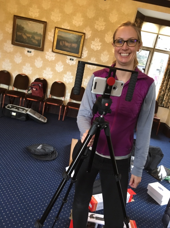 Helen demonstrates our tripod and rig