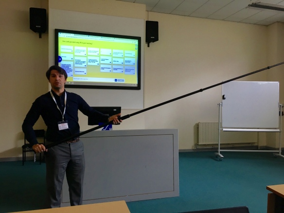 James Maltby demonstrates a pole for the 360 degree camera