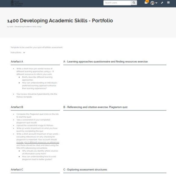 Template for ePortfolio assessment for module 1400