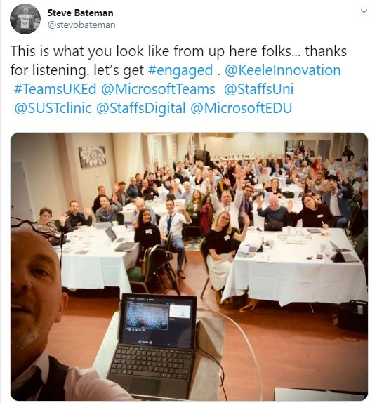 This is what you look like from up here folks... thanks for listening. let's get #engaged . @KeeleInnovation #TeamsUKEd @MicrosoftTeams @StaffsUni @SUSTclinic @StaffsDigital @MicrosoftEDU