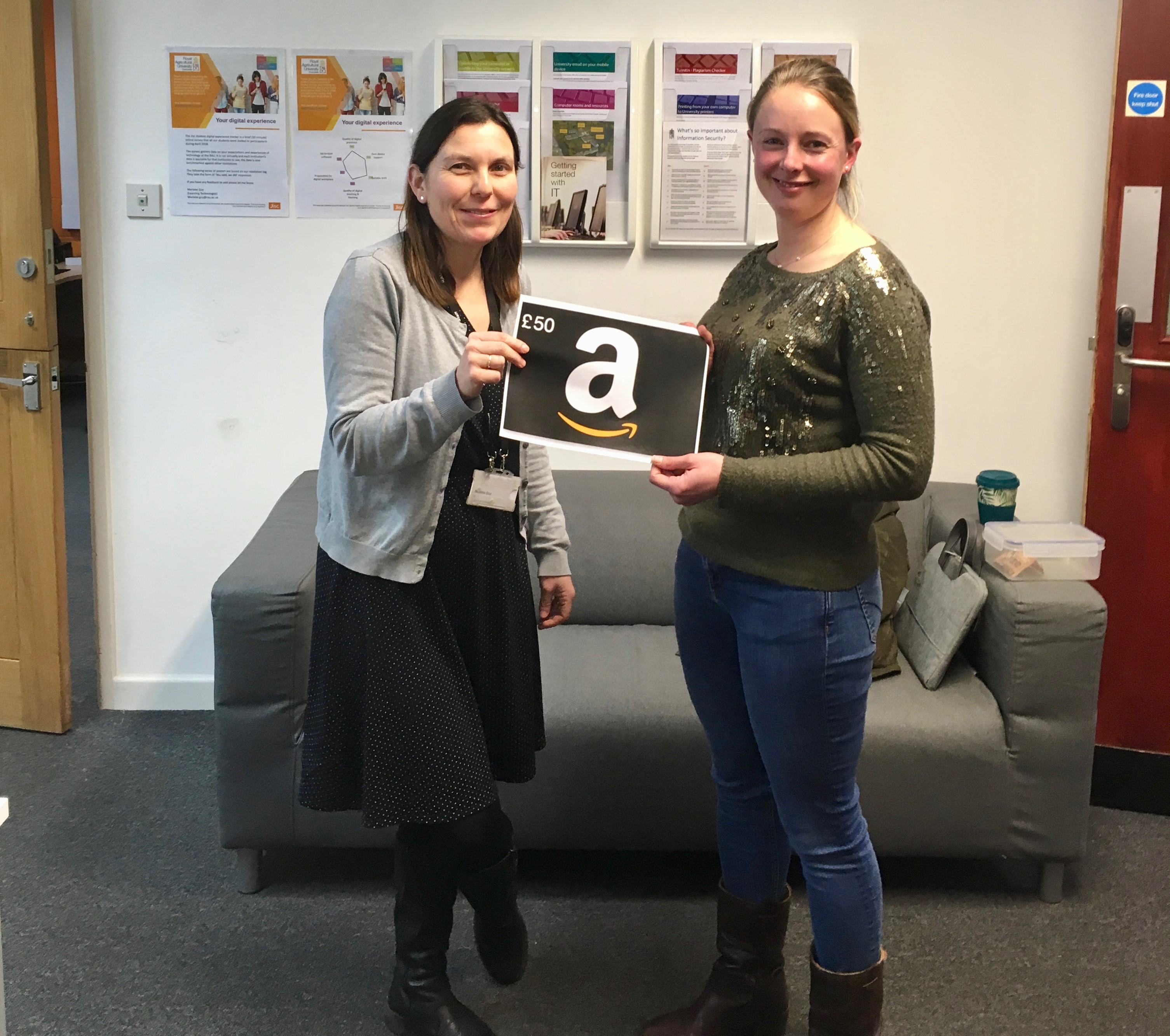 Louisa Gostling, studying on the MSc Business Management course was the lucky £50 Amazon voucher winner selected from RAU students who completed the survey